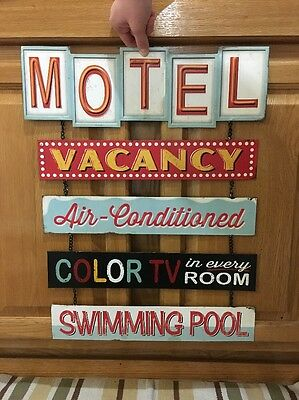 MOTEL VACANCY COLOR TV SWIMMING POOL Metal Vintage Style Bar Pub Wall Decor