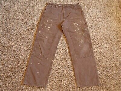 Carhartt Double Knee Duck Brown Carpenter Jeans tag 38x34(measures 36x33) ID001