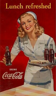 COCA-COLA  LADY IN Red  Framed Vintage 50s Pin-Up Style