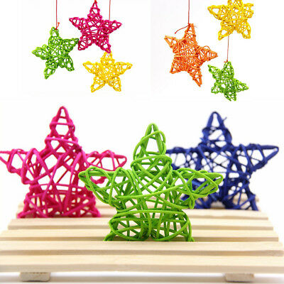 2Pcs DIY Rattan Star Ornament Christmas Birthday Party Xmas Tree Home Decor 6CM