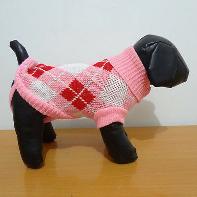 Small Dog Sweater Pink Argyle Pet Clothes Knitted Jacket Jumper Puppy Chihuahua