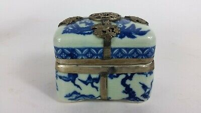Porcelain Dresser Box Chinese Style Blue and white with metal work, dragon doves