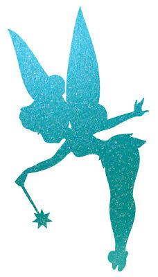 Window Wall Wine Glass Teal Blue Green Glitter Tinkerbell Fairy Vinyl Sticker