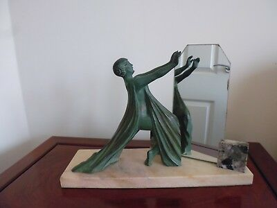 Art Deco Copper Verdigris Spelter Figure With Dressing Table Mirror On Marble Ba