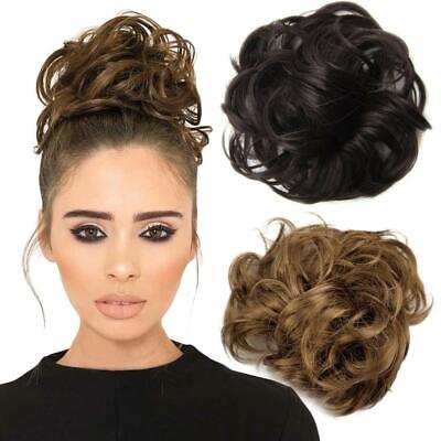 Synthetic Elastic Hair Scrunchie Piece Extensions Ponytail Curly Brown OK 03