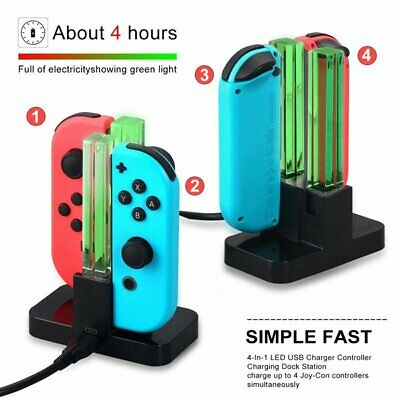 For Nintendo Switch Joy Con Pro Controller Charging Dock - 4-IN-1 USB Charger US