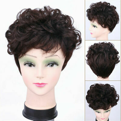 100% Real Human Hair Short Wavy Curly Topper Hairpiece Toupee Cover Loss Hair