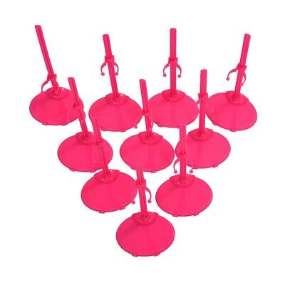 2X(10 X Support Pedestal Display Stand For Barbie Doll -Rose Red A3G9)
