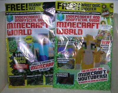 Minecraft World Magazine issues 22 & 23 - unopened bags with free gifts