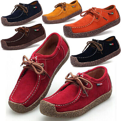 Womens Flats Shoes Genuine Leather lace up Casual Loafers Comfort shoes Moccasin