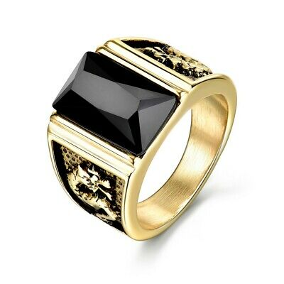 Charms Black Onyx Crystal Mens Heavy Gold Stainless Steel Dragon Ring Band Gift