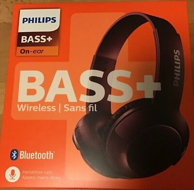 Philips Wireless Headphones Bass + Bluetooth On Ear RED (maroon) Phillips NEW