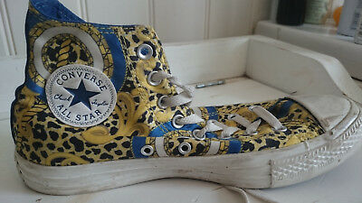 Converse All Stars high tops, limited edition, blue and gold design,  UK size 6