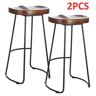 Set of 2 Industrial Bar Stools Kitchen Breakfast High Chair Wood Pub Seat UK