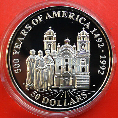 """Cook Islands: 50 Dollars 1991 Silber, KM# 190, PP-Proof,#F1120,""""Church in Cuzco"""""""