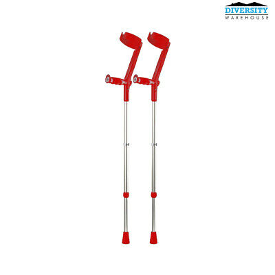 Rebotec Safe-In-Soft – Forearm Crutches with Cuff & Hinge Red