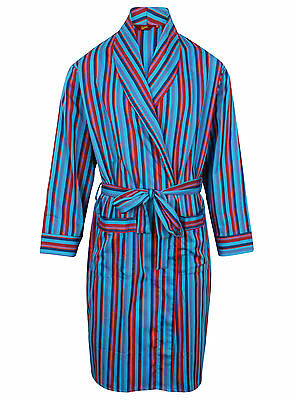 Men's Lightweight Cotton Dressing Gown, Turquoise Stripes (sizes available)