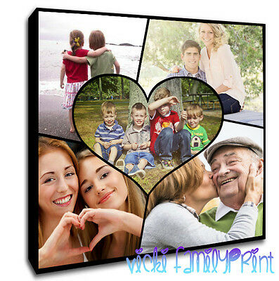 PERSONALISED SQUARE CANVAS COLLAGE HEART PICTURE FAMILY PHOTOS 280gsm 18mm frame