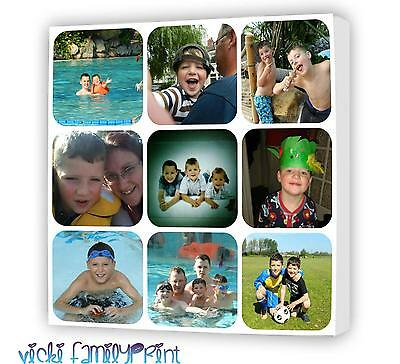 """Lovely 16""""X16"""" Collage Canvas Personalised Photo Birthday Wedding Family"""
