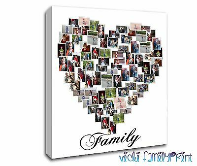 "Lovely Family 20""X20"" Heart Shaped Collage Canvas Personalised Photo"