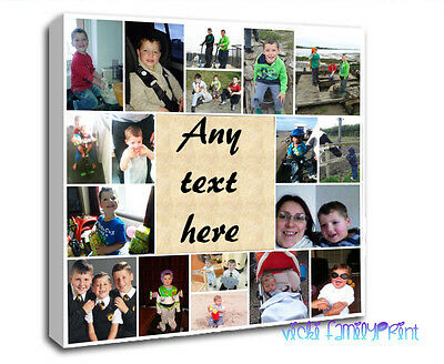 """20""""x20"""" COLLAGE CANVAS PERSONALISED PHOTO GIFT BIRTHDAY FAMILY QUOTE CHRISTMAS"""