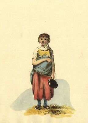 Eliza Mosley after George Morland, Girl with Flask - 1806 watercolour painting