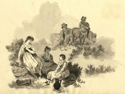 Eliza Mosley after George Morland, Peasants Resting -1806 watercolour painting