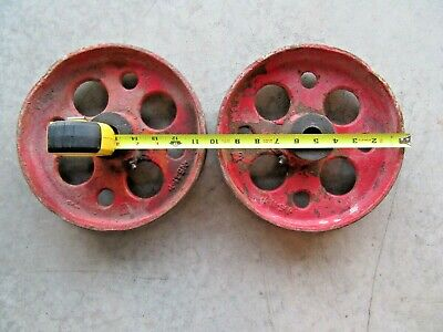 Set of 2  CAST IRON  WOOD FACTORY / HIT MISS CART  WHEELS Grease Fittings
