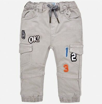 New Baby Boy Mayoral Trousers With Patches Jogger Fit, Age 6 Months, (2572)