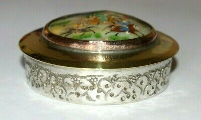 Antique Persian Hand Painted Mother Of Pearl Lidded Box. Snuff Compact Mirror