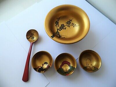 Vintage Japanese Red And Gold Apple Hand Painted Soup Bowl & Spoon & Saki Cups