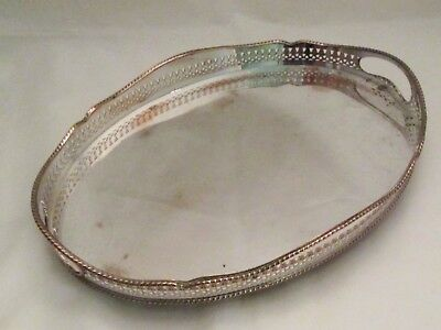 A Small Silver Plated Tray with Galleried Edge c1900
