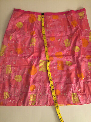 VINTAGE Classic Lily Pulitzer PINK/ORANGE/YELLOW Print cotton skirt SIZE 10