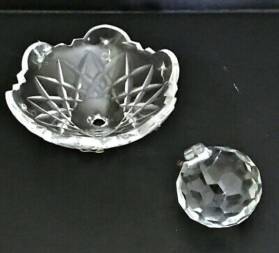 WATERFORD CRYSTAL AVOCA 6 ARM CHANDELIER Ball Canopy Bowl & BALL (PARTS)