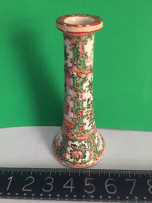 Antique Chinese Canton Famille Rose Porcelain Candle Stick Late 1800's w/orLABEL