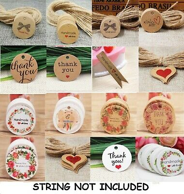 Kraft Paper Gift Tags Label Thank You Made With Love Christmas Birthday BU1337