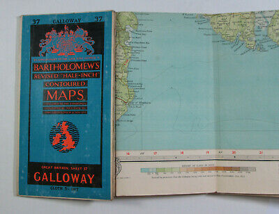 1953 Old Vintage Bartholomew's Half-inch Contoured CLOTH Map 37 Galloway