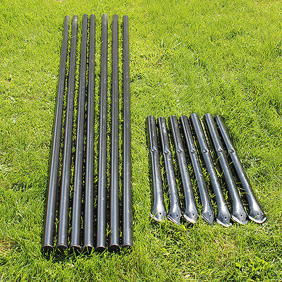 7pk. Steel Fence Posts Galvanized Black With Sleeves For 5' Animal Fencing