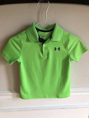 be62c760 Under Armour Boys Golf Shirt Polo Neon Green With Navy Blue Size YXS XS