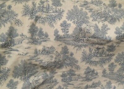 French Toile de Jouy Cotton Curtain Fabric Antique Style Pictorial Isabella Blue