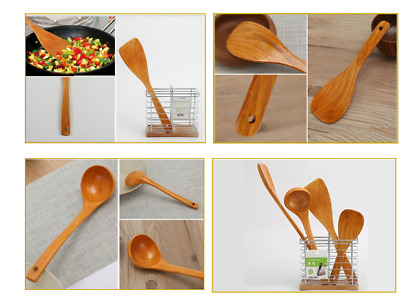 4 Piece Wooden Cooking Spoons Set Utensil Bamboo Wood Spatula Kitchen Mix