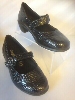 Ladies Cosyfeet Hettie Court Shoes size 5 extra roomy Black Patent Croc