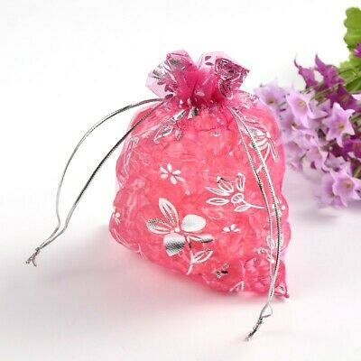 100 x Pink & Silver Organza Pull tie Gift/Favour Pouches 7x9cm