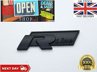 VW RLine R Line Badge Matte Black Sticker Emblem Golf Tiguan Touareg NEW MODEL