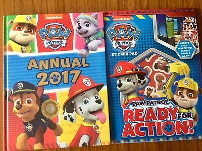 Nickelodeon PAW Patrol Annual 2017 & Paw Patrol Ready For Action Sticker Pad New