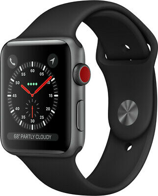 Apple Watch Series 3 GPS Cellular Grau Aluminium 38mm Sport schwarz MTGP2 - NEU