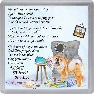"""Chow Chow Dog Coaster """"HOME SWEET HOME Poem ......"""" Novelty Gift by Starprint"""
