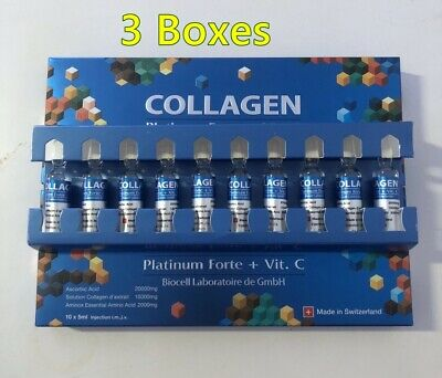 3 X COLLAGEN Platinium Forte + Vit C BIOCELL reduce fade for body and face firm