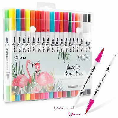 Ohuhu Art Markers Dual Tips Colouring Brush & Fineliner Pens (36 Colours)