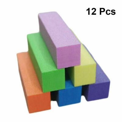 12x Acrylic Nail Tips Buffer Buffing Sanding Block Files Manicure Tool Mix Color